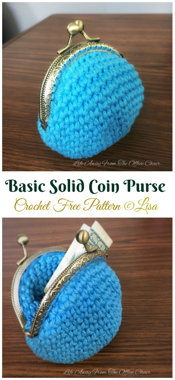 Basic Solid Coin Purse Crochet Free Pattern - Metal Frame Coin #Purse; Free #Crochet; Patterns