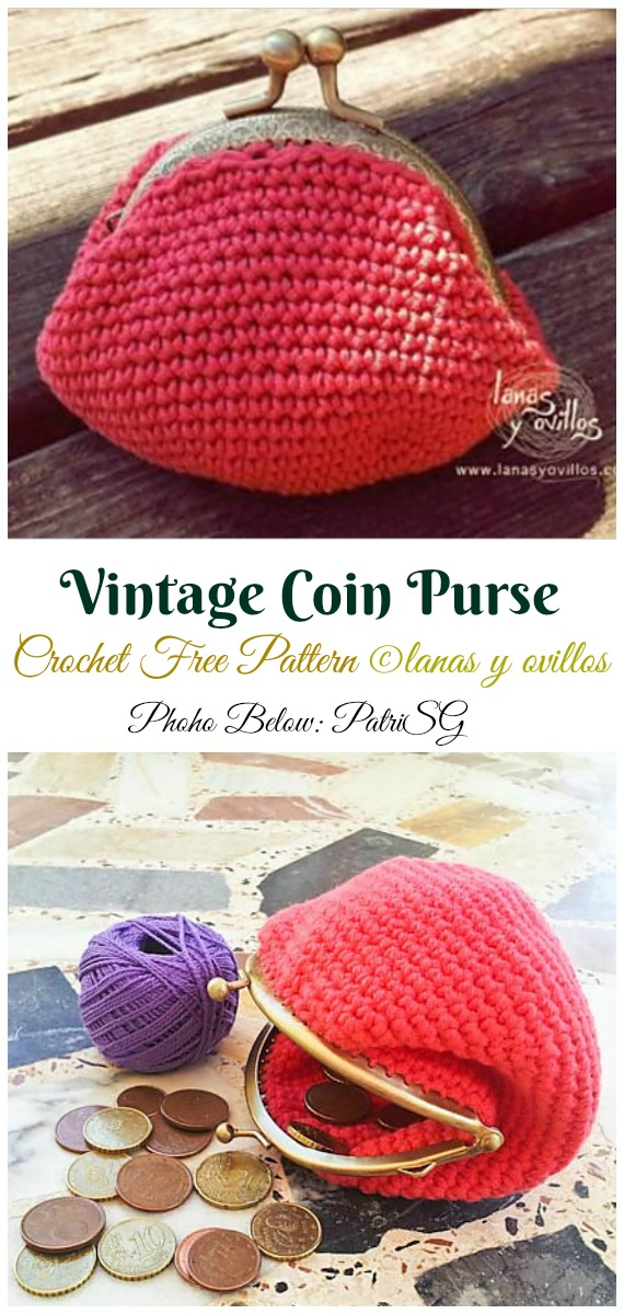 Vintage crochet Coin Purse Crochet Free Pattern Video - Metal Frame Coin #Purse; Free #Crochet; Patterns