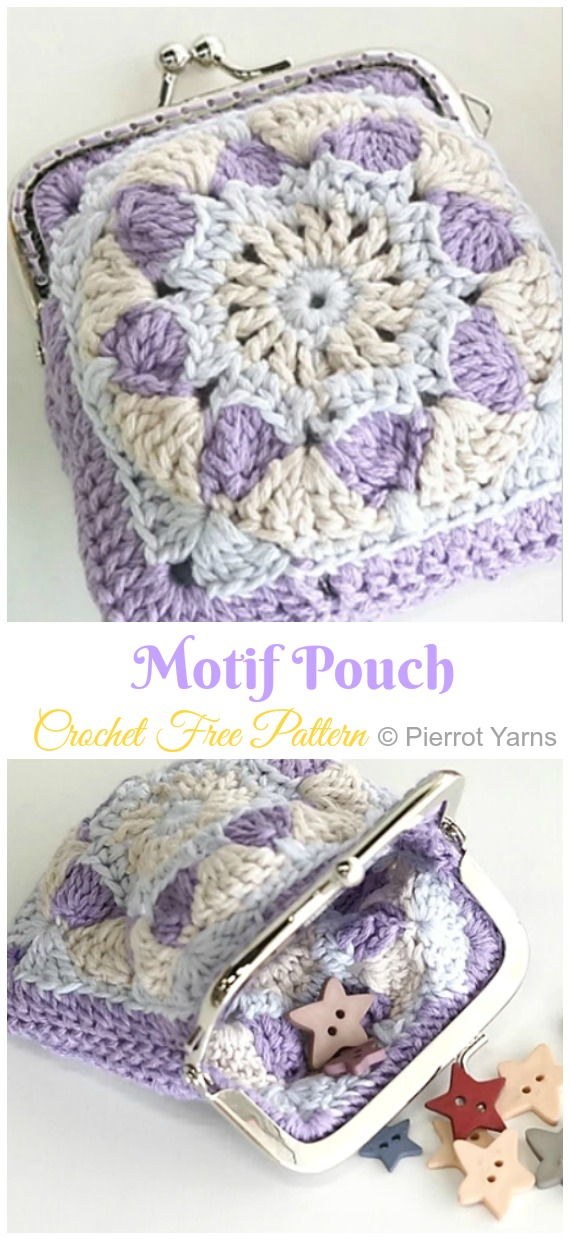 Motif Pouch Coin Purse Crochet Free Pattern Video - Metal Frame Coin #Purse; Free #Crochet; Patterns