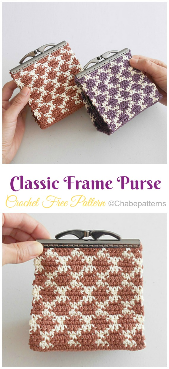 Classic Frame Purse Crochet Free Pattern - Metal Frame Coin #Purse; Free #Crochet; Patterns