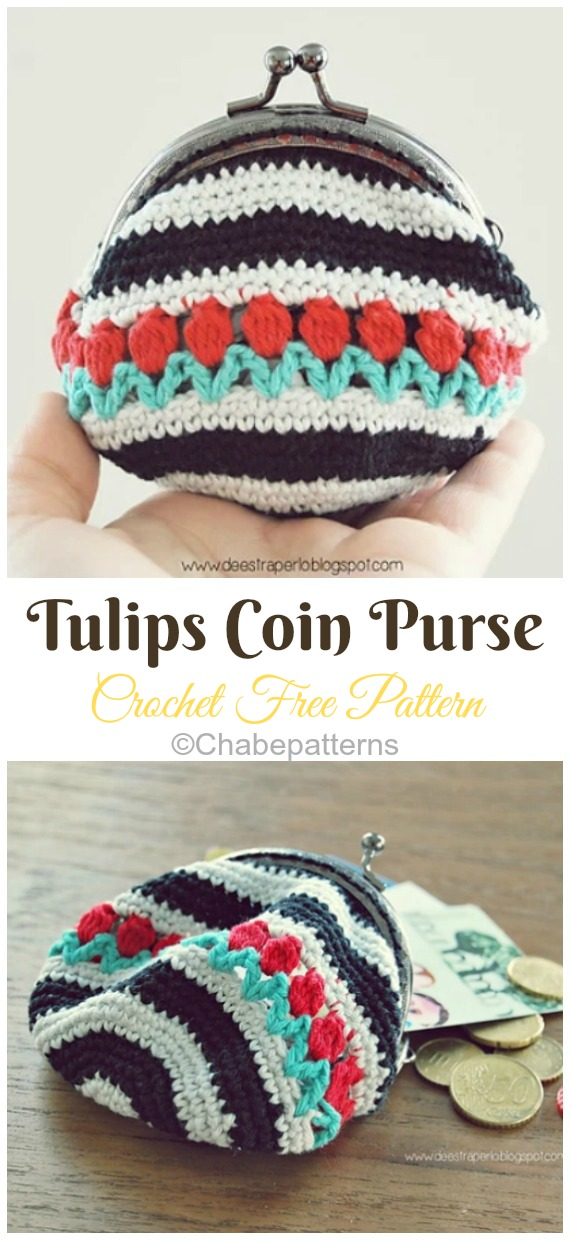 Tulips Coin Purse Crochet Free Pattern - Metal Frame Coin #Purse; Free #Crochet; Patterns
