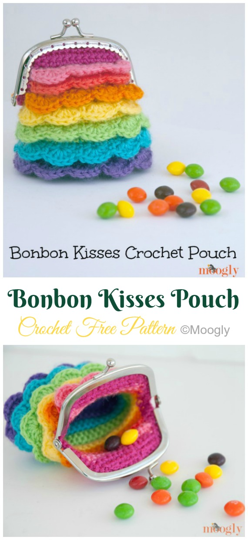 Bonbon Kisses Crochet Pouch Crochet Free Pattern - Metal Frame Coin #Purse; Free #Crochet; Patterns