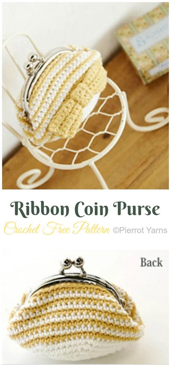 Ribbon Coin Purse Crochet Free Pattern - Metal Frame Coin #Purse; Free #Crochet; Patterns