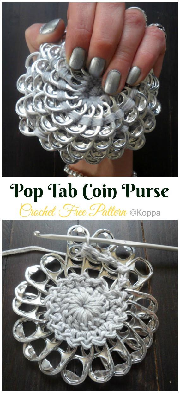 Pop Tab Coin Purse Crochet Free Pattern - Metal Frame Coin #Purse; Free #Crochet; Patterns