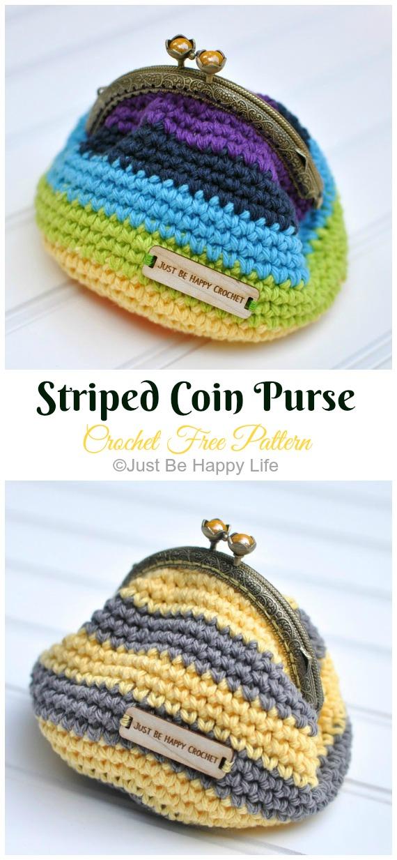Striped Coin Purse Crochet Free Pattern - Metal Frame Coin #Purse; Free #Crochet; Patterns