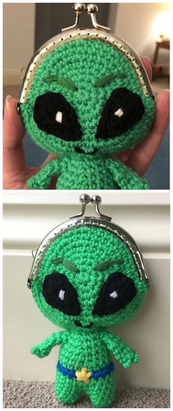 Alien Coin Purse Crochet Free Pattern- Metal Frame Coin #Purse; Free #Crochet; Patterns