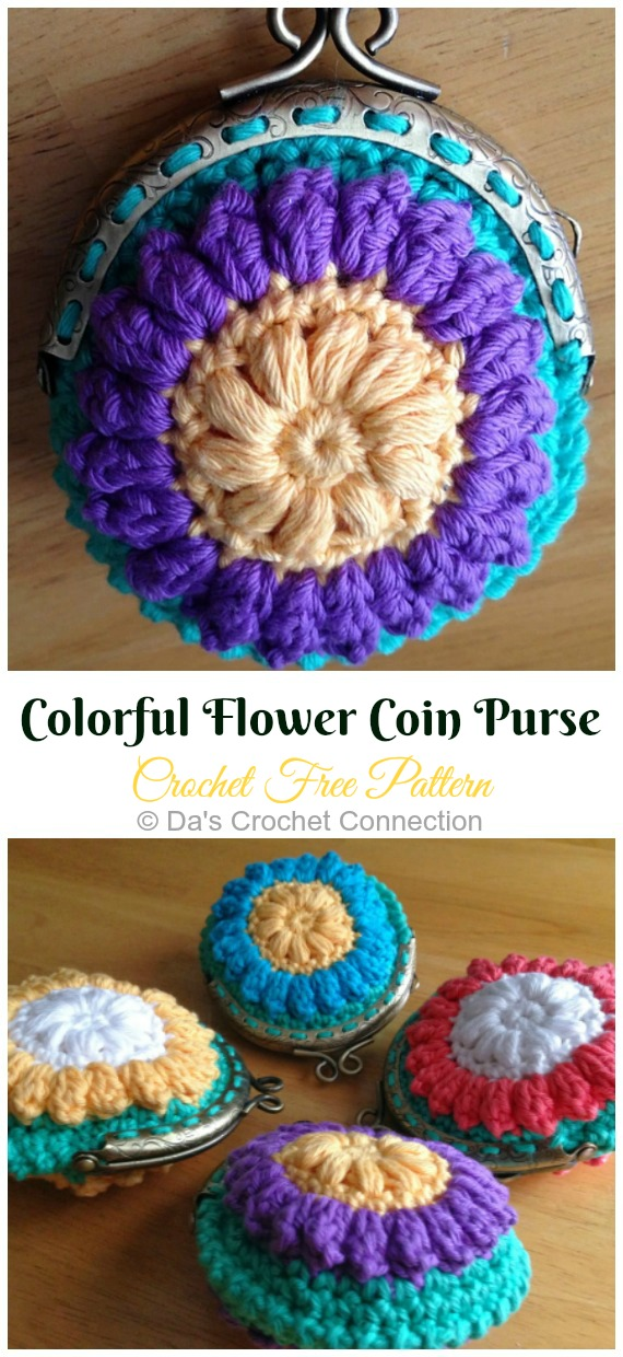 Colorful Flower Coin Purse Crochet Free Pattern- Metal Frame Coin #Purse; Free #Crochet; Patterns