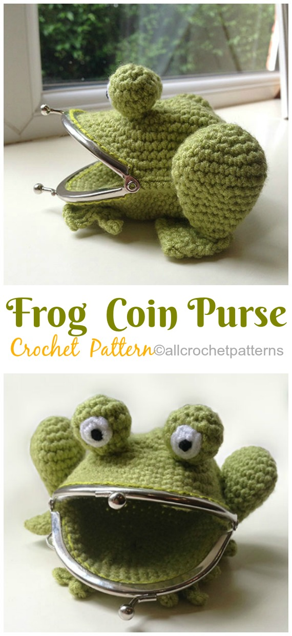 Frog Coin Purse Crochet Pattern- Metal Frame Coin #Purse;   #Crochet; Patterns