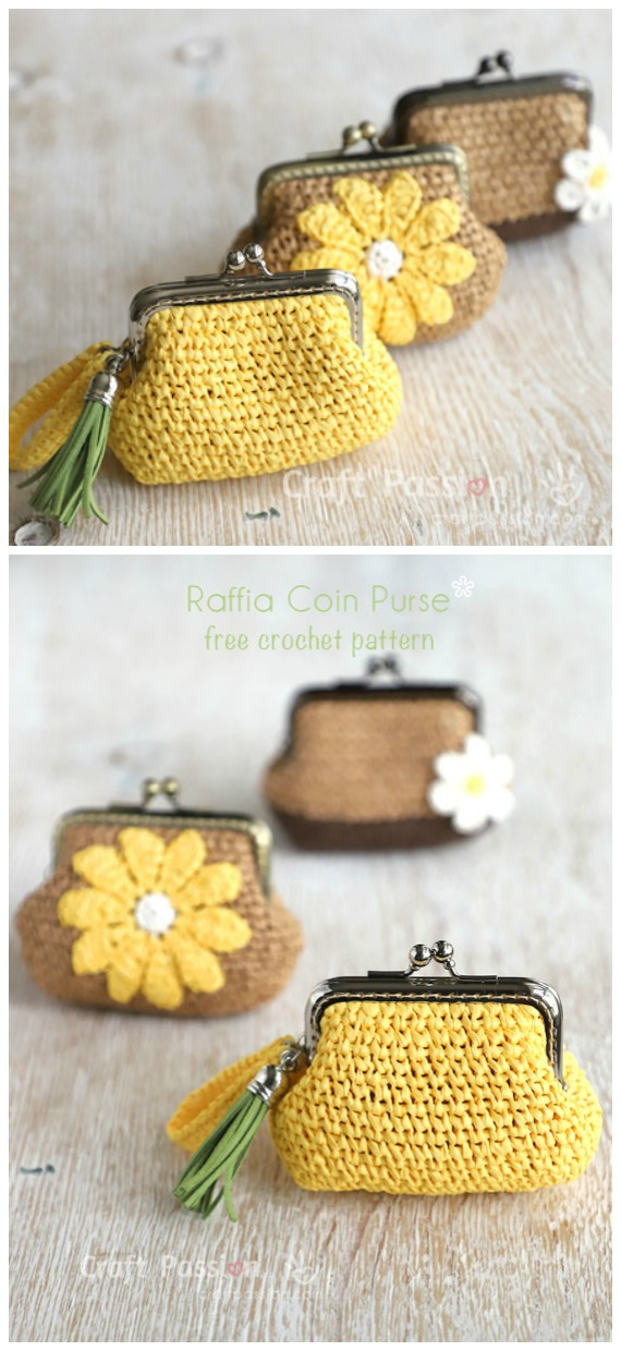 Raffia Coin Purse Crochet Free Pattern- Metal Frame Coin #Purse; Free #Crochet; Patterns
