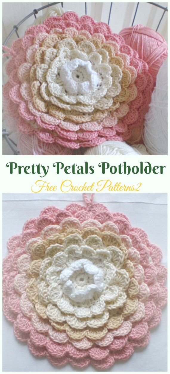 Rose Flower Potholder Crochet Free Pattern-  #PotHolder; Hotpad Crochet Free Patterns