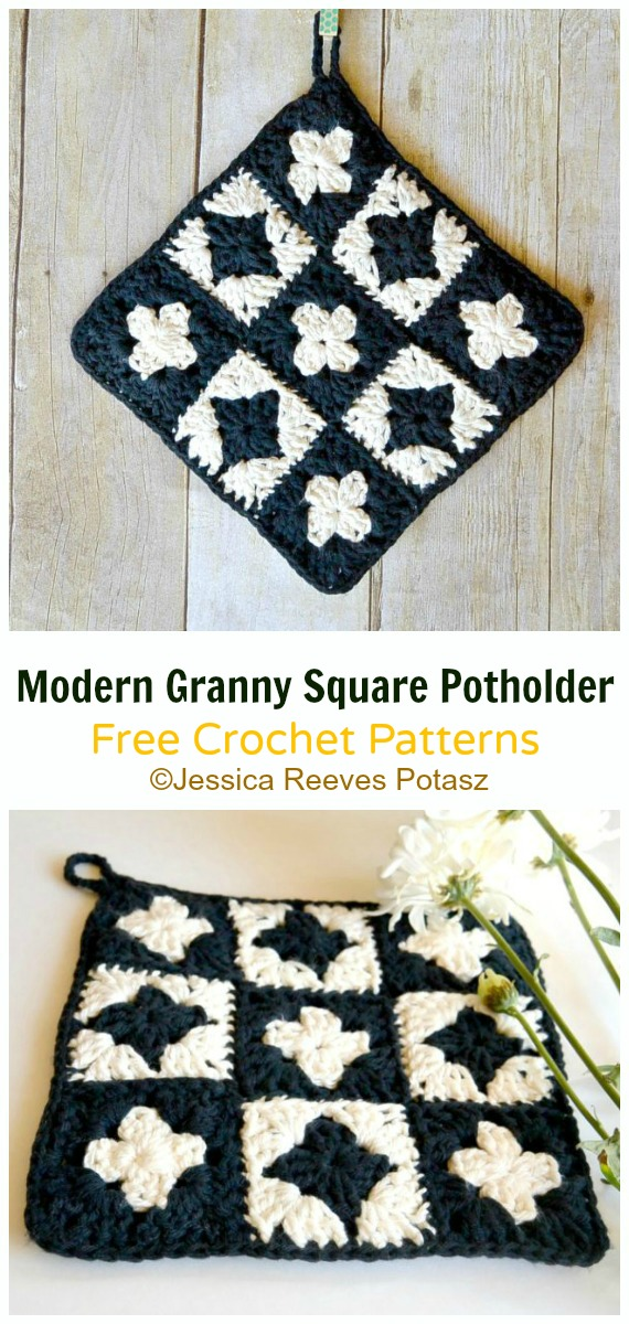 Modern Square Potholder Crochet Free Pattern-  #PotHolder; Hotpad Crochet Free Patterns