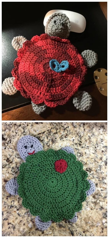 Turtle Love Potholder Crochet FreePattern-  #PotHolder; Hotpad Crochet Free Patterns