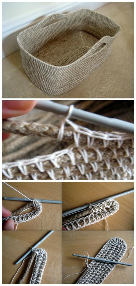 Rope Storage BasketCrochet Free Pattern - #Crochet; Storage #Basket; Free Patterns