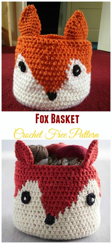 Fox BasketCrochet Free Pattern - #Crochet; Storage #Basket; Free Patterns