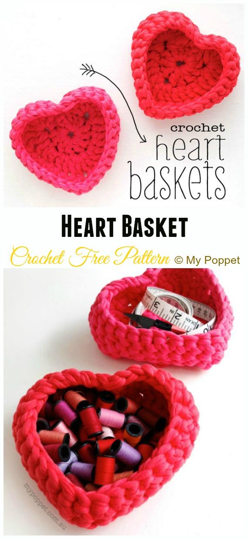 Heart BasketCrochet Free Pattern - #Crochet; Storage #Basket; Free Patterns