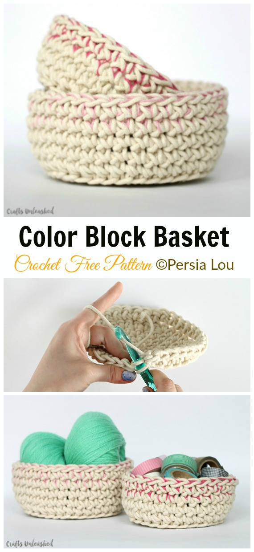 Color Block Basket Crochet Free Pattern - #Crochet; Storage #Basket; Free Patterns