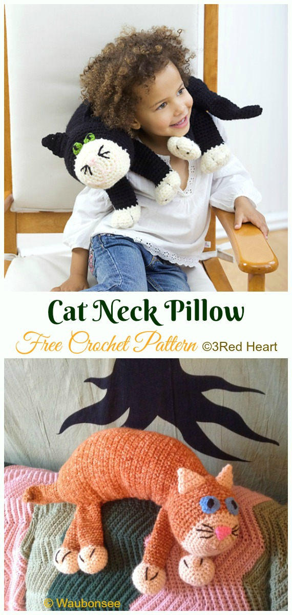 Cat Neck Pillow Crochet Free Pattern -- #Crochet; Travel Neck #Pillow; Patterns Tutorials
