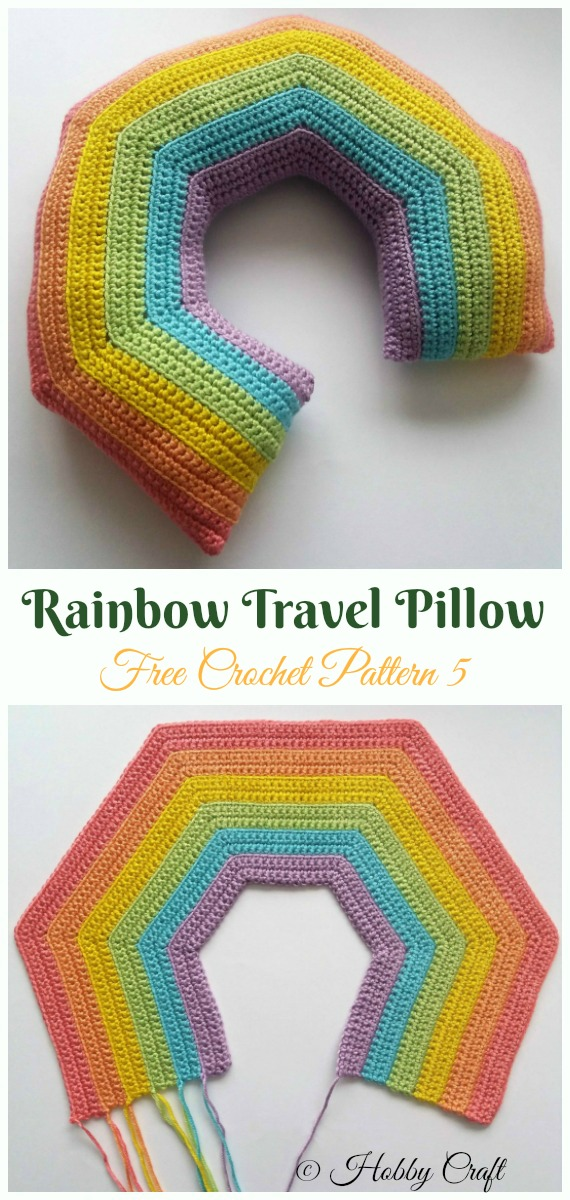 Rainbow Travel Pillow Crochet Free Pattern- #Crochet; Travel Neck #Pillow; Patterns Tutorials