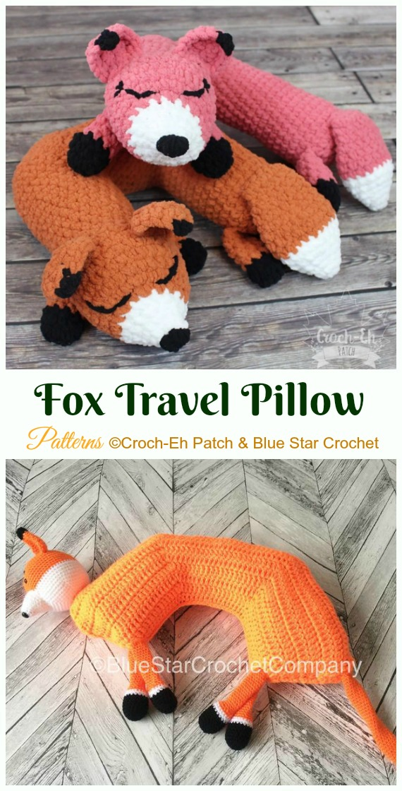 Fox Travel Pillow Crochet Paid Pattern- #Crochet; Travel Neck #Pillow; Patterns Tutorials