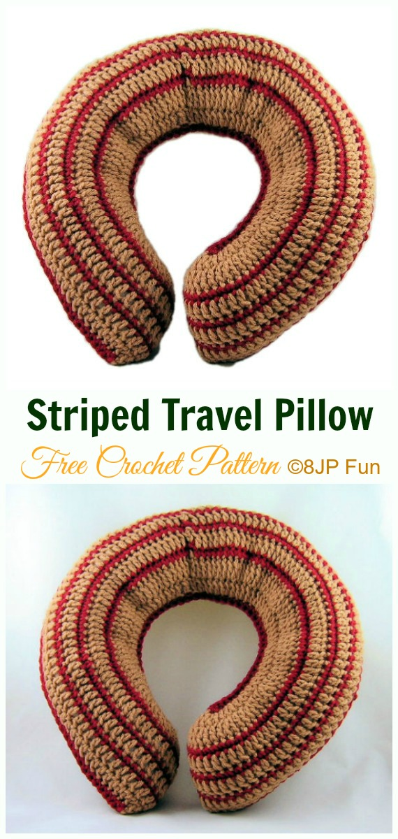 Striped Travel Pillow Crochet Free Pattern- #Crochet; Travel Neck #Pillow; Patterns Tutorials