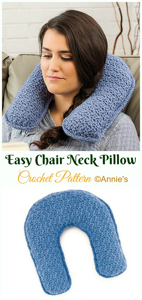 Easy Chair Neck Pillow Crochet Paid Pattern- #Crochet; Travel Neck #Pillow; Patterns Tutorials