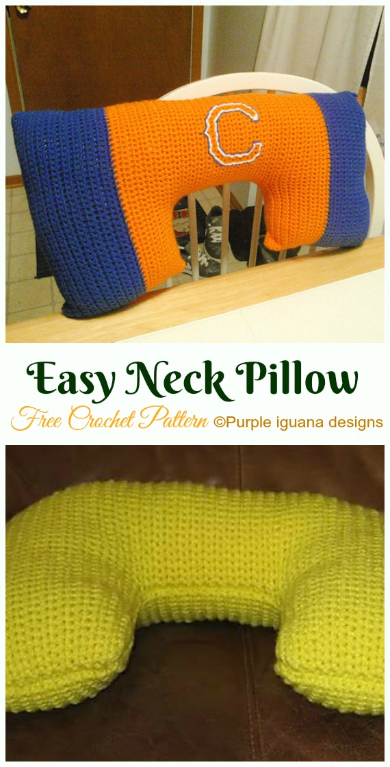 Easy Neck Pillow Crochet Free Pattern- #Crochet; Travel Neck #Pillow; Patterns Tutorials