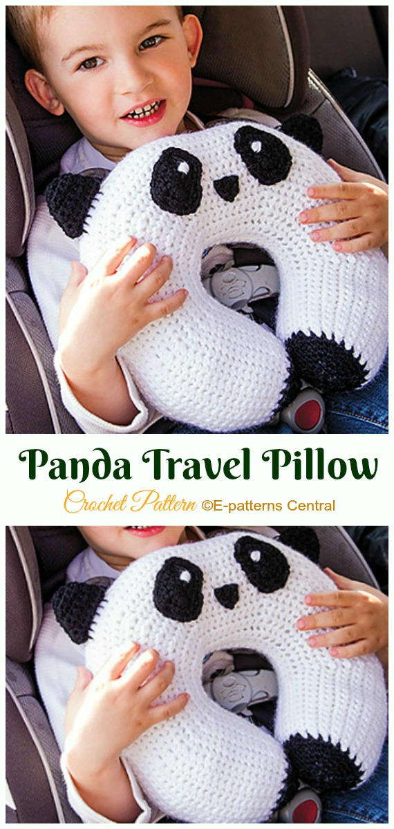 Panda Travel Pillow Crochet Paid Pattern- #Crochet; Travel Neck #Pillow; Patterns Tutorials