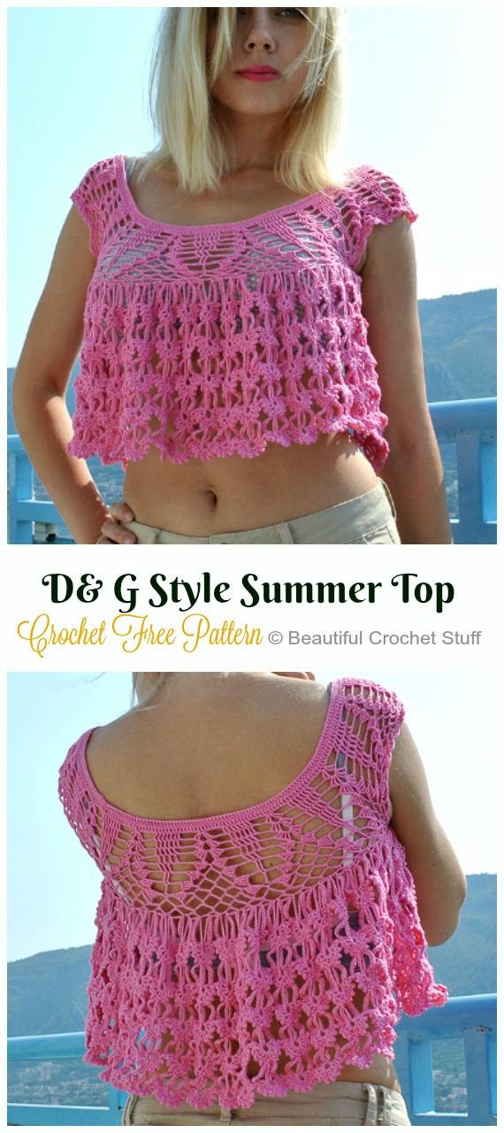 Dolce & Gabbana Style Summer Top Free Pattern - Women #CropTop; Free #Crochet; Patterns [Summer Edition]