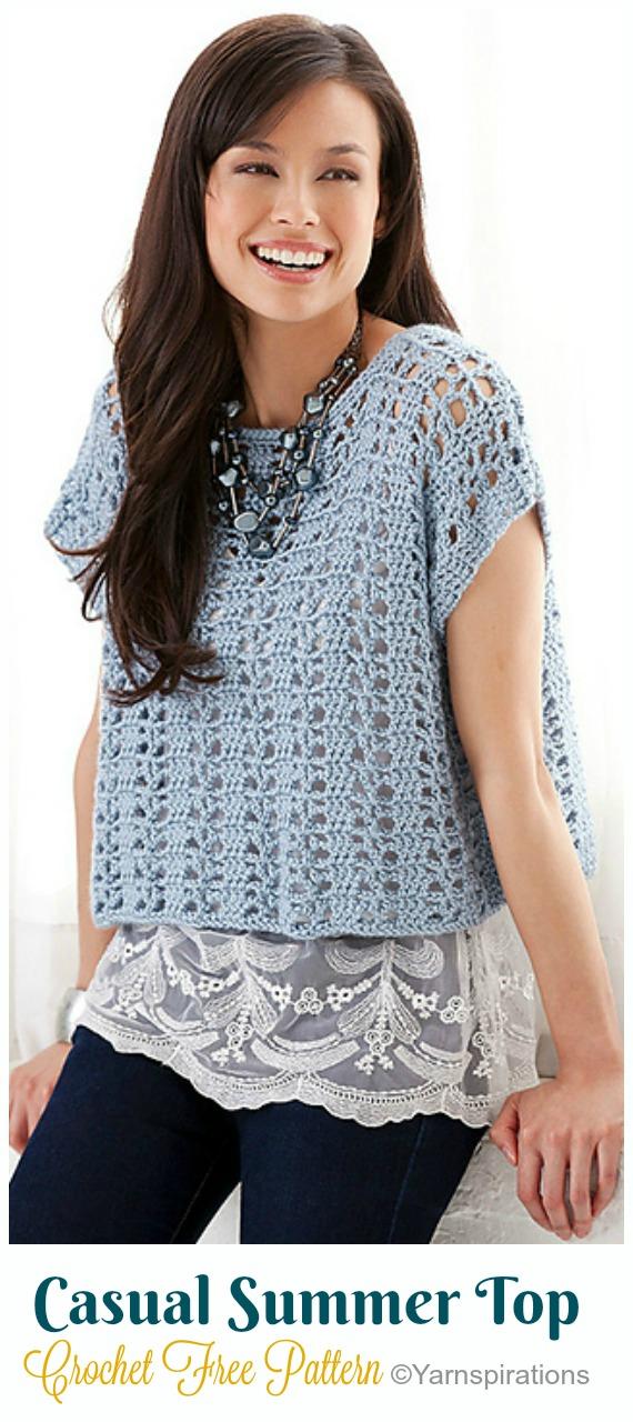 Casual Summer Top Crochet Free Pattern- Women #CropTop; Free #Crochet; Patterns [Summer Edition]