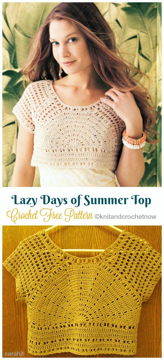 Lazy Days of Summer Crop Top Crochet Free Pattern- Women #CropTop; Free #Crochet; Patterns [Summer Edition]