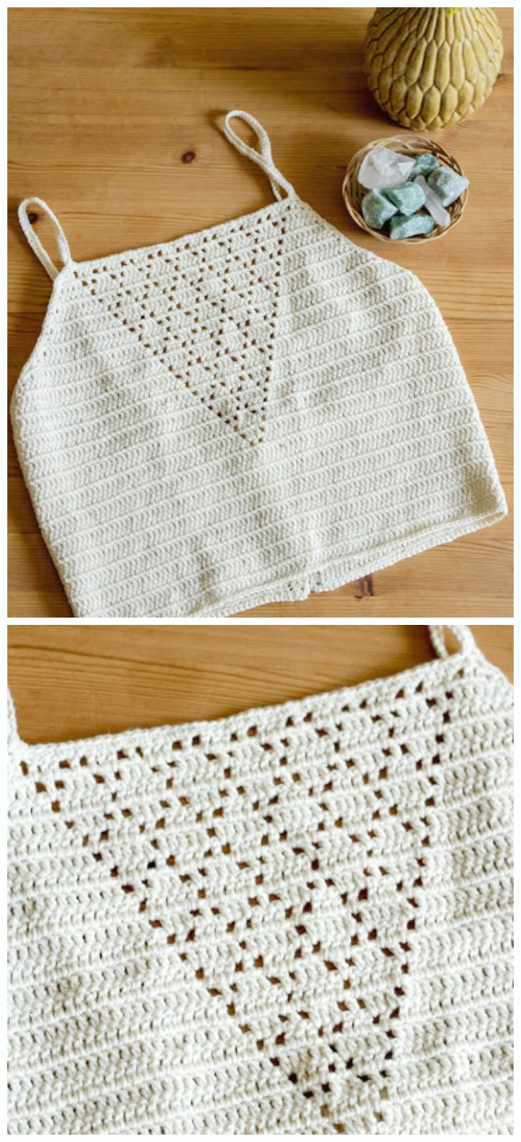 Diamond Crop Top Crochet Free Pattern - Women #CropTop; Free #Crochet; Patterns [Summer Edition]