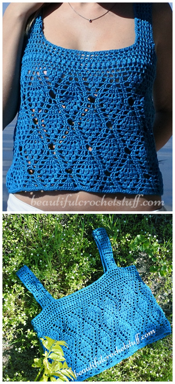 Tank Crop Top Crochet Free Pattern - Women #CropTop; Free #Crochet; Patterns [Summer Edition]