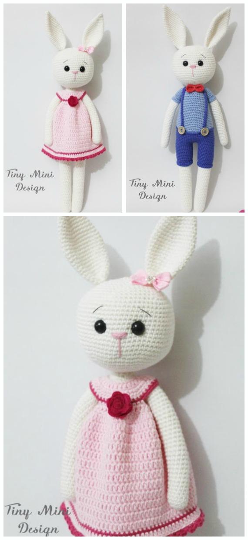 Amigurumi Skinny Baby Bunny Crochet Free Pattern - Crochet #Bunny; Toy #Amigurumi; Free Patterns