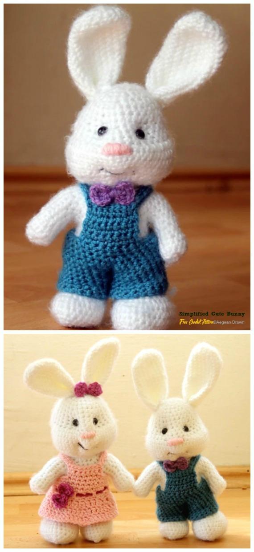 Amigurumi Simplified Cute Bunny Crochet Free Pattern - Crochet #Bunny; Toy #Amigurumi; Free Patterns
