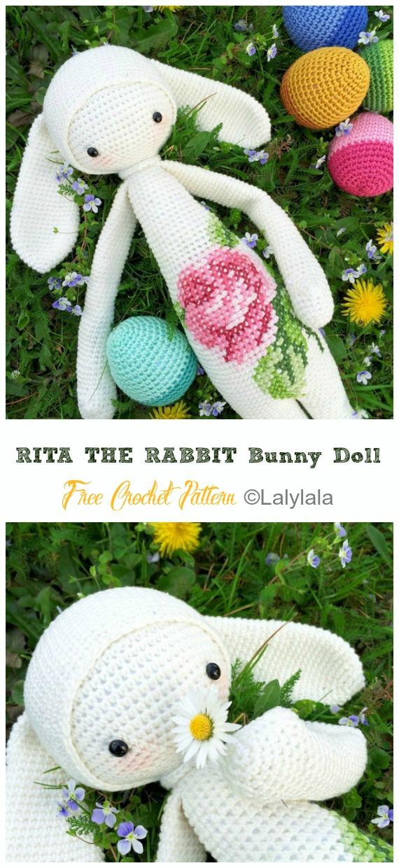RITA THE RABBIT Bunny Doll Crochet Free Pattern - Crochet #Bunny; Toy #Amigurumi; Free Patterns