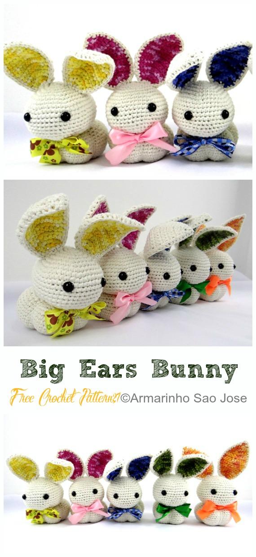Big Ears Bunny Crochet Free Pattern - Crochet #Bunny; Toy #Amigurumi; Free Patterns