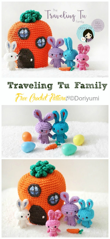 Amigurumi Traveling Tu Family Crochet Free Pattern - Crochet #Bunny; Toy #Amigurumi; Free Patterns