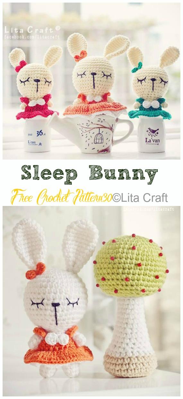 Amigurumi Sleep Bunny Crochet Free Pattern - Crochet #Bunny; Toy #Amigurumi; Free Patterns