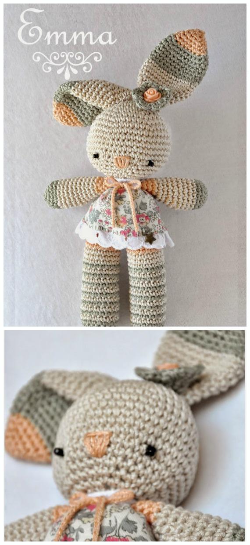 Amigurumi Bunny Emma Crochet Free Pattern - Crochet #Bunny; Toy #Amigurumi; Free Patterns
