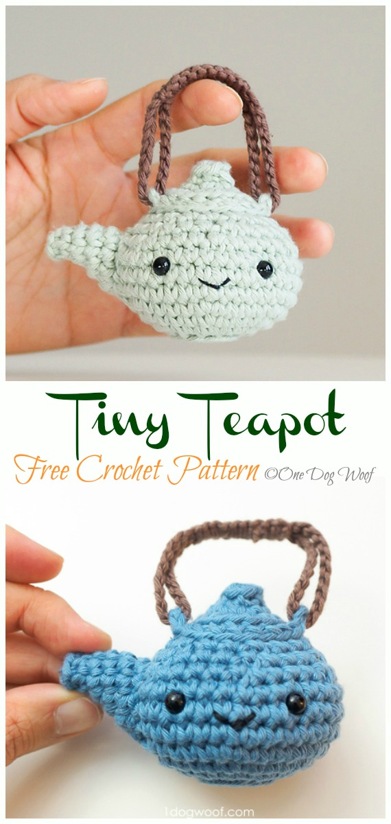 Crochet Tiny Teapot Amigurumi Free Pattern - #Amigurumi; #Teacup; Free Crochet Patterns