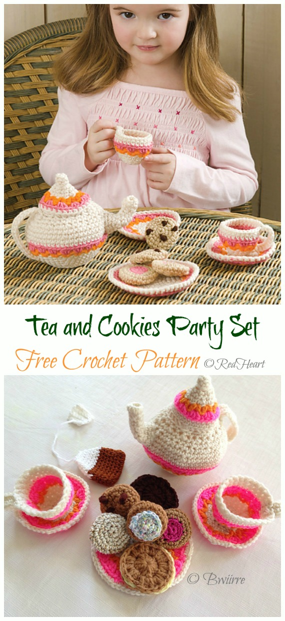 Crochet Tea and Cookies Party Set Amigurumi Free Pattern - #Amigurumi; #Teacup; Free Crochet Patterns