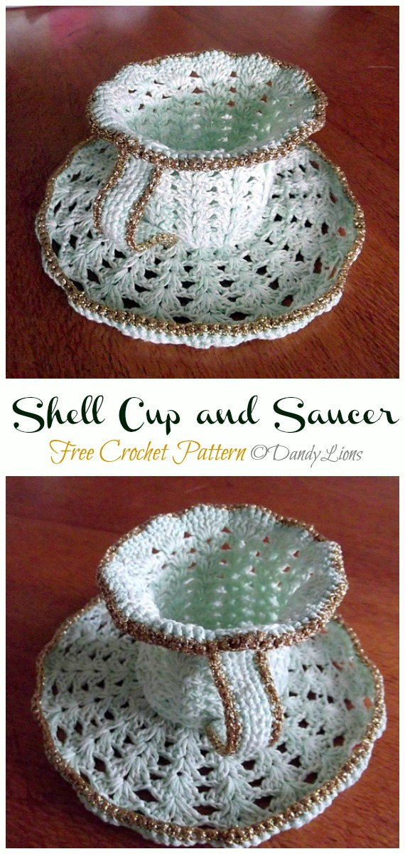Shell Cup and Saucer Free Crochet Pattern - #Crochet; #Teacup; Free Patterns