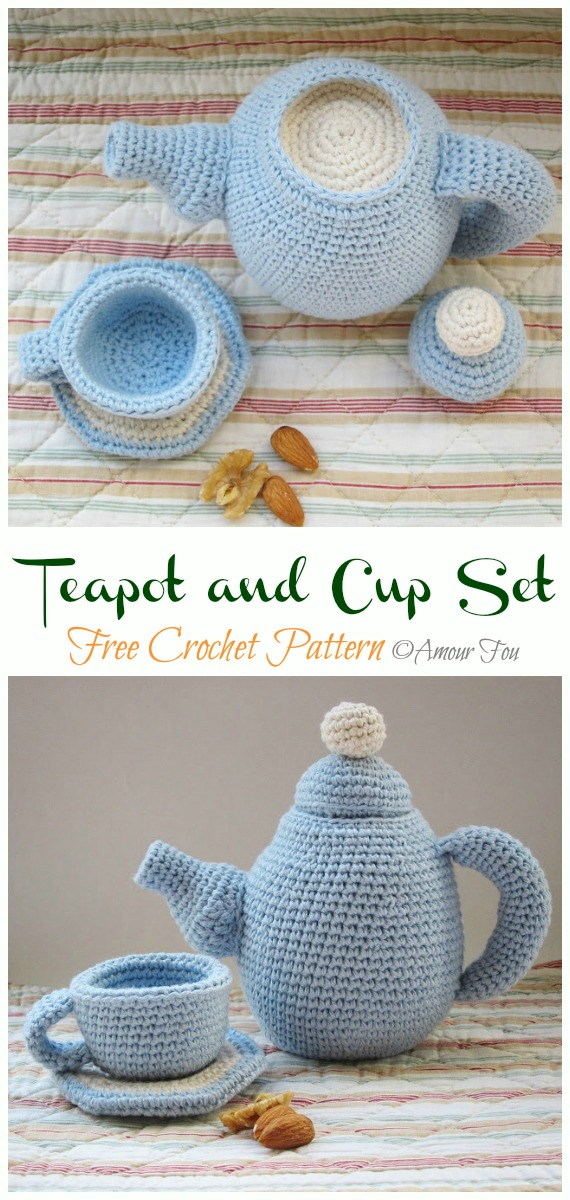 Crochet  Teapot and Cup Set Amigurumi Free Pattern - #Amigurumi; #Teacup; Free Crochet Patterns
