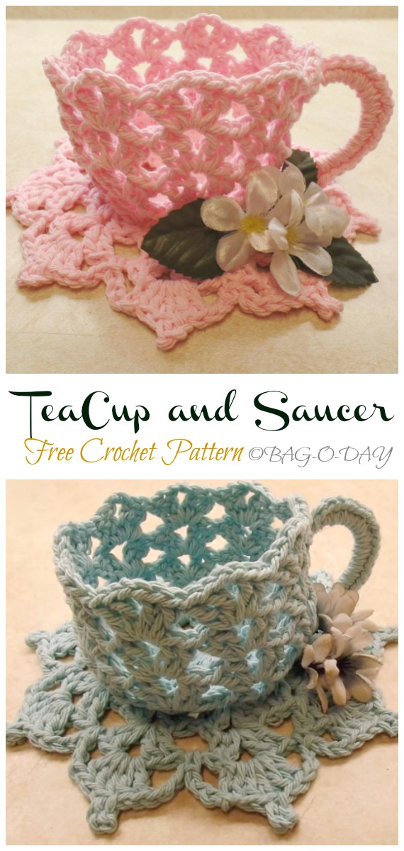 Decorative TeaCup and Saucer  Free Crochet Pattern Video - #Crochet; #Teacup; Free Patterns