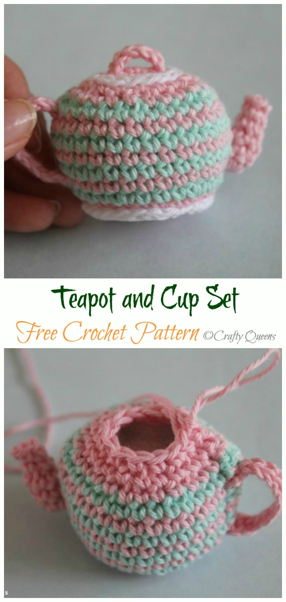 Crochet Teapot and Cup Amigurumi Free Pattern - #Amigurumi; #Teacup; Free Crochet Patterns