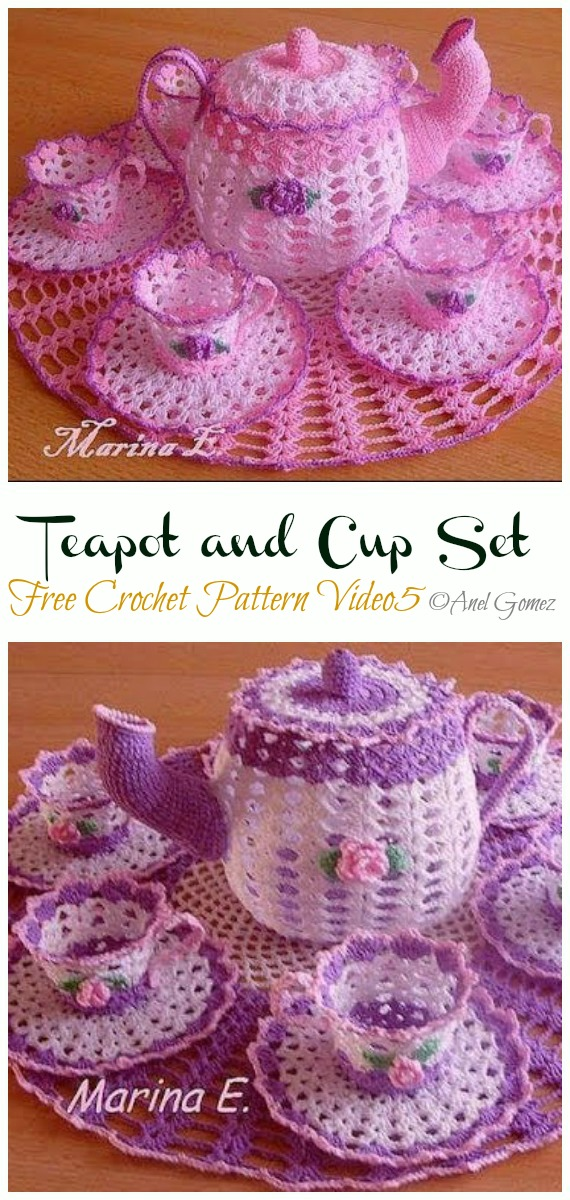 Teapot and Tea Cup Set Free Crochet Pattern - #Crochet; #Teacup; Free Patterns