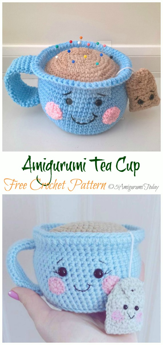 Crochet Tea Cup Pincushion Amigurumi Free Pattern - #Amigurumi; #Teacup; Free Crochet Patterns