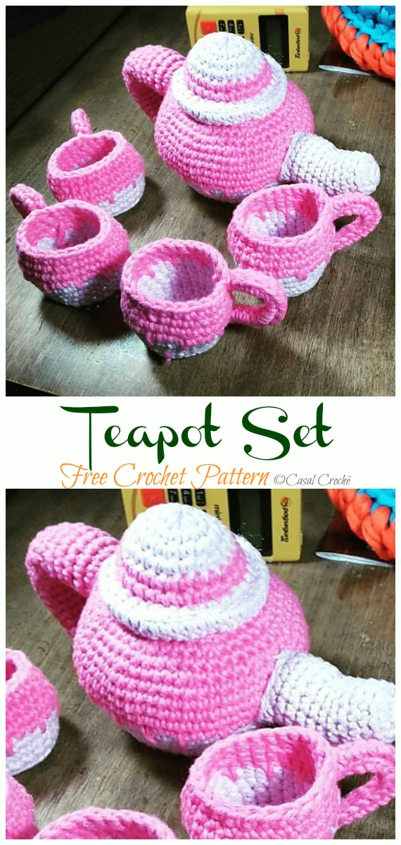 Crochet Teapot Set Amigurumi Free Pattern - #Amigurumi; #Teacup; Free Crochet Patterns