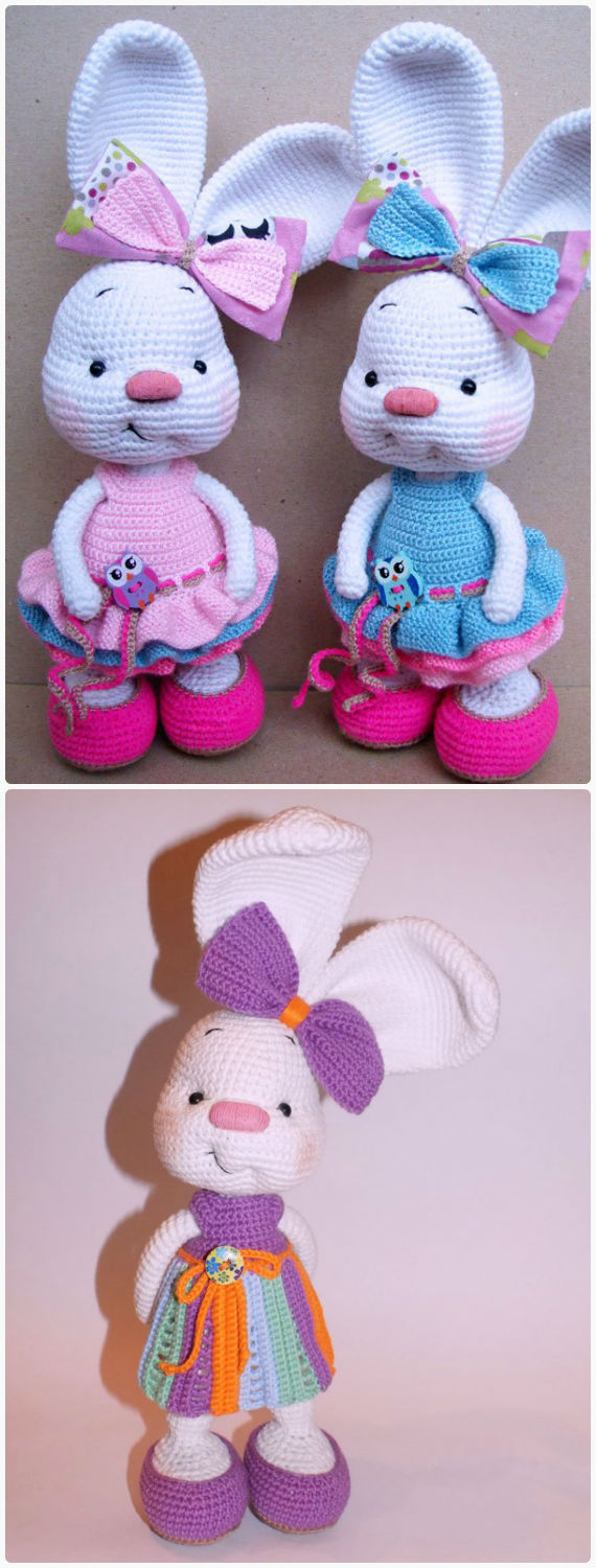 Amigurumi Bunny In Dress Crochet Free Pattern - Crochet #Bunny; Toy #Amigurumi; Free Patterns