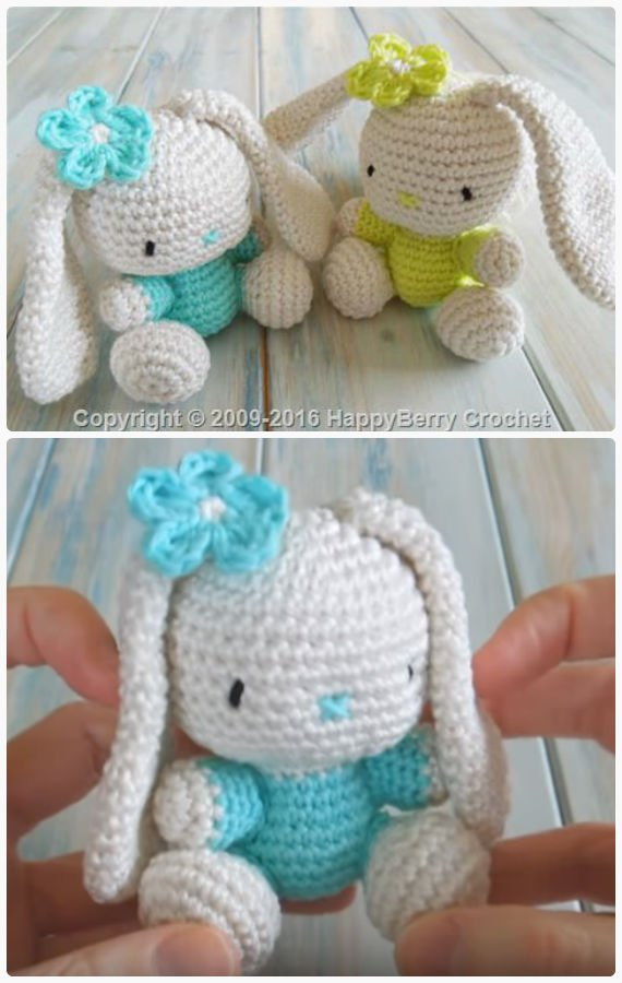 Amigurumi Flappy Ear Bunny Crochet Free Pattern&Video - Crochet #Bunny; Toy #Amigurumi; Free Patterns